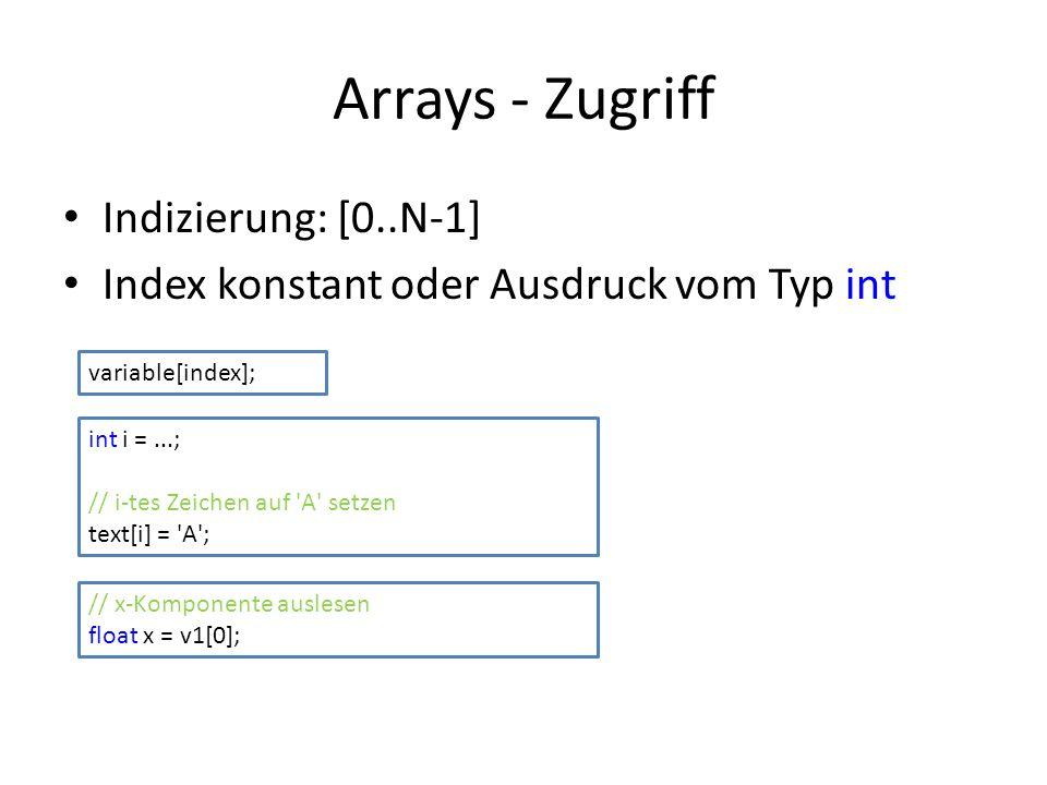 Arrays - Zugriff Indizierung: [0..N-1]